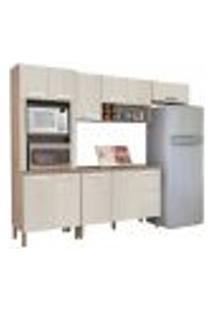 Cozinha Modulada Ametista 5 Módulos Composição 4 Nogal/Arena - Kit'S Paraná