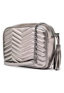 Bolsa De Couro Quadrada Hendy Bag Alça Correntes Prata Metalizada
