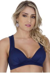 Sutiã Click Chique Top Com Bojo Decote Azul