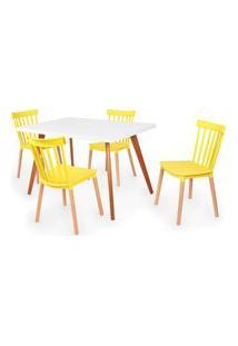 Conjunto Mesa De Jantar Gih 120X80Cm Branca Com 4 Cadeiras Windsor - Amarelo