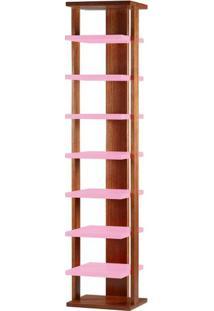 Prateleira Way Estrutura Cacau Acabamento Rosa 169Cm - 60879 - Sun House