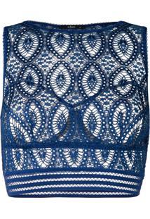 Else Sutiã Cropped Com Estampa Barroca - Azul