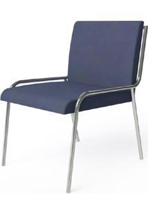 Cadeira Alana Azul Escuro Estofada Estrutura Aco Cromado - 41039 Sun House