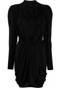 Isabel Marant Vestido Drapeado Com Mangas Longas - Preto
