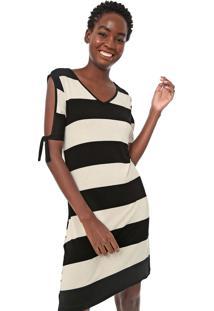 Vestido Fiveblu Curto Listrado Off Shoulder Off-White/Preto