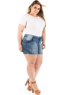 Shorts Jeans Curto Com Puídos Plus Size Feminino - Feminino-Azul