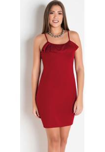 Vestido Vermelho Tubinho Com Alça E Babado