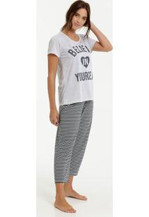 Pijama Feminino Listrado Estampa Frontal Manga Curta Marisa