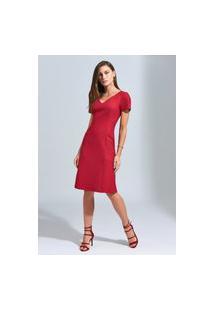 Vestido Ginestra Evasê Tweed - Gi-9596-Vermelho