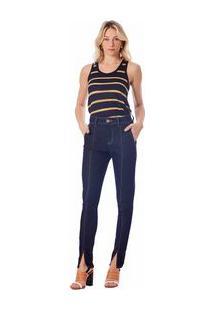 Calça Maria.Valentina Skinny Alfaiataria M.Julia Cós Alto Com Fendas Jeans