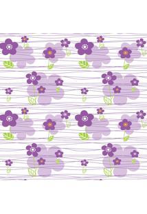 Papel De Parede Quartinhos Adesivo Floral Lilás 2,70X0,57M - Tricae