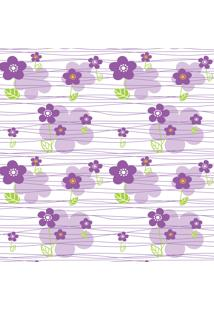 Papel De Parede Quartinhos Adesivo Floral Lilás 2,70X0,57M