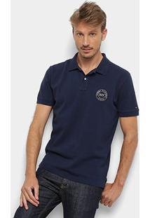 Camisa Polo Tommy Hilfiger Regular Masculina - Masculino-Azul
