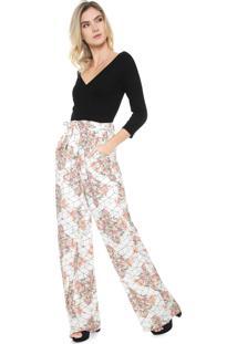 Macacão Enfim Pantalona Recortes Preto/Off-White - Kanui