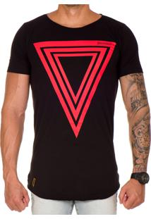 Camiseta Lucas Lunny Oversized Longline Preta Triangulo Vermelha