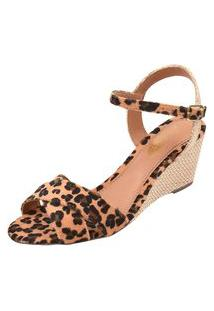 Sandália Uzze Sapatos Anabela Confort Onça