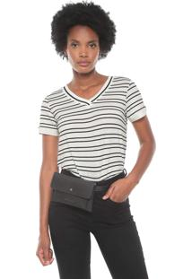 Blusa Cativa Listrada Off-White/Preta