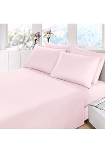 Jogo Cama Casal 4Pçs Rosa Percal 200 Fios - Fassini Têxtil