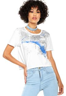 Camiseta Cropped Calvin Klein Jeans Estampada Branca