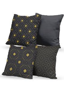 Kit 4 Capas De Almofadas Decorativas Own Geométricas Cinza Gold 45X45 - Somente Capa
