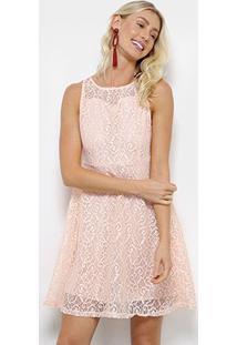 Vestido Pérola Evasê Rendado - Feminino-Rosa