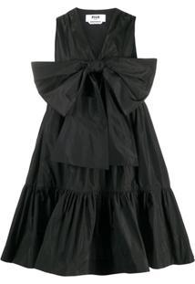 Msgm Vestido Com Laço Frontal - Preto