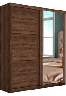 Guarda Roupa Casal Com Espelho Prático 2 Pt 2 Gv Jacarandá