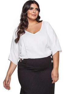 Blusa Almaria Plus Size Pianeta Liso Off White Branco
