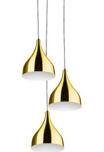 Lustre Pendente Aluminio Gota Triplo 21Cm Dourado