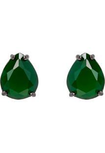Brinco Gota The Ring Boutique Pedra Cristal Verde Esmeralda Ródio Negro