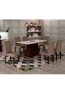 Conjunto De Mesa De Jantar Luna Com 6 Cadeiras Ane I Suede Animalle Castor, Branco E Chocolate