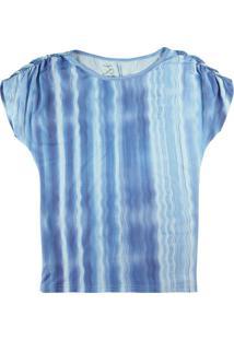 Blusa Azul Sustentável Estampada