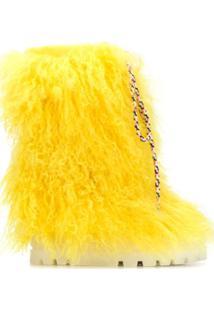 Casadei Bota De Neve Com Pelos - Amarelo
