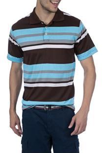 Camisa Polo Masculina Marrom Listrada - P