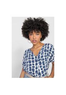 Blusa Marialícia Geométrica Branca/Azul-Marinho
