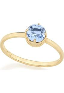 Anel Solitário Composto Por Cristal De Rommanel - Feminino-Azul