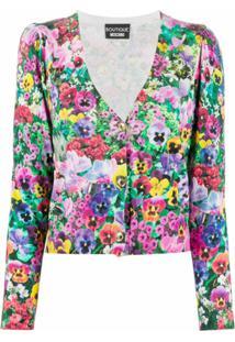 Boutique Moschino Cardigan Com Padronagem Floral - Rosa