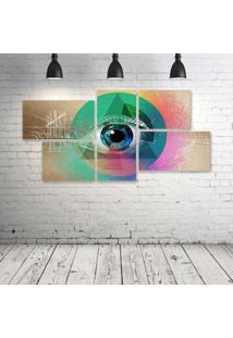 Quadro Decorativo - All-Seeing-Eye - Composto De 5 Quadros - Multicolorido - Dafiti