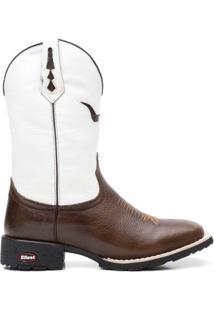 Bota Texana Branco Com Pitstop Bico Quadrado 02145 - Masculino-Marrom+Branco