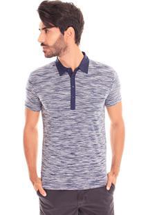 Camiseta Polo Convicto Abertura Lateral Azul Marinho