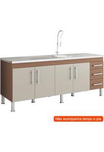 Balcão De Cozinha Flex 4 Pt 3 Gv Amêndoa E Off White