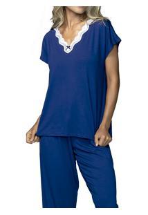 Pijama Longo Com Renda Demillus Gradisca (85749)