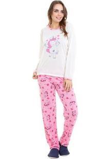 Pijama De Inverno Unicórnio Luna Cuore Feminino - Feminino-Bege+Rosa