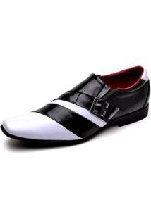Sapato Social Top Franca Shoes Verniz Masculino - Masculino-Preto+Branco