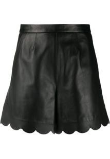 Redvalentino Scalloped-Edge Leather Shorts - Preto