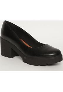 Sapato Meia Pata Tratorado- Preto- Salto: 8Cmmya Haas