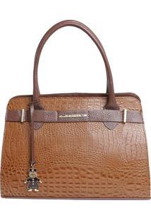 Bolsa De Mão Em Couro Com Bag Charm - Marrom & Marrom Esdi Marlys