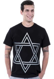 Camiseta Hardivision Estrela De Davi - Masculino-Preto