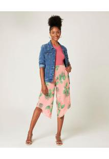Calça Pantacourt Florais Malwee Rosa Claro - Xgg
