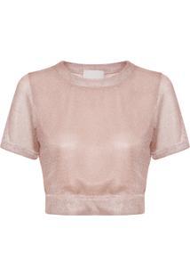 Blusa Feminina Cropped Shine - Rosa
